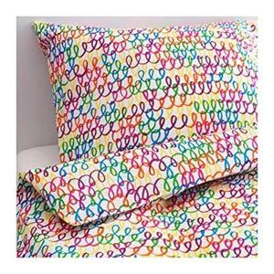 IKEA Twin Colorful Rainbow Duvet Cover Pillowcase